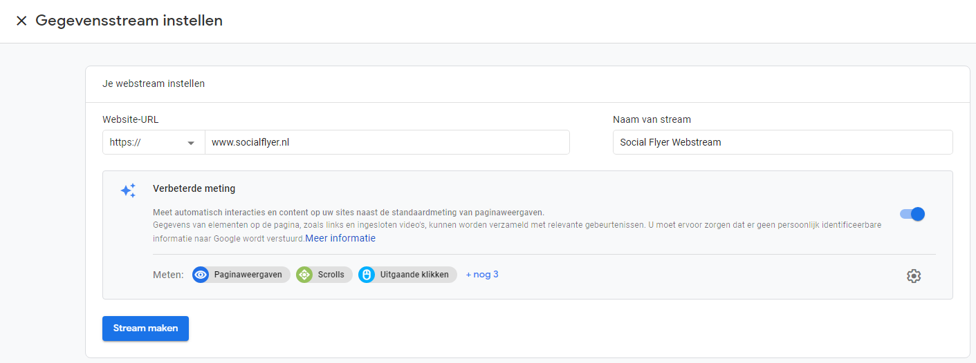 Google Analytics gegegvensstream